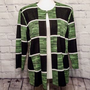 Misook Green Black Checkered Knit Cardigan Jacket